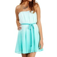 Pre-Order: Alana-Mint Ombre Strapless Dress
