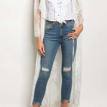 Lace Duster Cardigan With Ruffle Detail