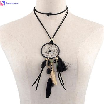 Women Wind Dreamcatcher Fringed Feathers Long Chain Necklace Monkey King of natural stone feathers tassel long necklace #GH35
