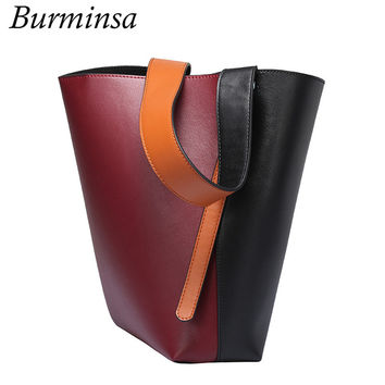 Burminsa Real Genuine Leather Bags Bucket Designer Brand Handbags High Quality Ladies Tote Shopping Bags Shoulder Bags For Women