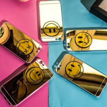 The New Smile Face Mirror Iphone 7 7 Plus & 6 6s Plus & 5 5s Cover Case