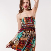 A'GACI Multi Tribal Belted Tube Dress - Dresses