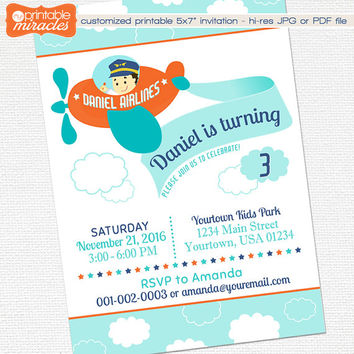 Printable Airplane Invitation, Plane Birthday Invitation, Kids aviation Party Invite, Orange Blue Plane themed photo Invitation