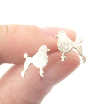 French Poodle Dog Shaped Silhouette Stud Earrings in Silver | DOTOLY