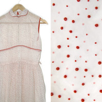 Vintage Maxi Dress~Size Extra Small~50s 60s 70s Red White Polka Dot Sheer Collar Pleated Dress