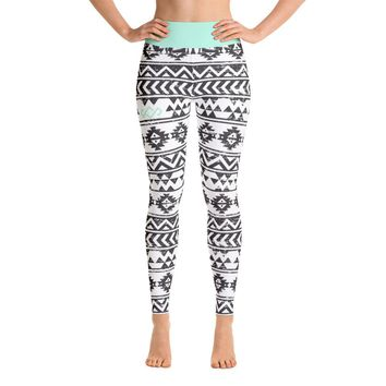 Black & White Aztec Yoga Leggings