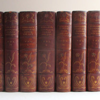 Antique Book Set - Leather Bound Limited Edition Works of Keats and Shelley in Art Nouveau Bindings - British Romantic Poets