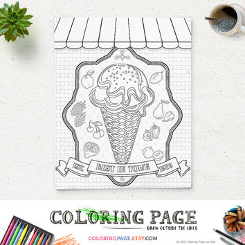 Coloring Page Best in Town Ice Cream Ad Retro Art Print Instant Download Art Print Zen Printable Adult Coloring Pages AntiStress Art Therapy