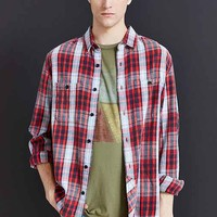 Stapleford Bruno Washed Flannel Button-Down Shirt- Red