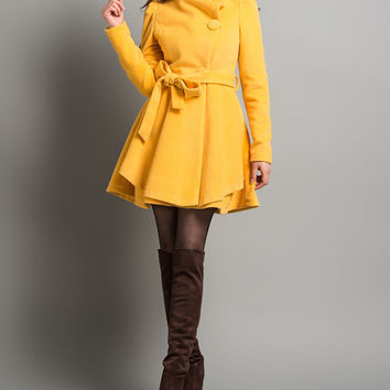 Yellow Wool Coat Women Outerwear Long Trench Coats Cute Curly Bow Winter Cloak Jacket-WH028 S-XL