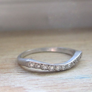 Antique Platinum Diamond Wedding Band Ring Curved Ring Contoured Diamond Ring Art Deco Bridal Jewelry