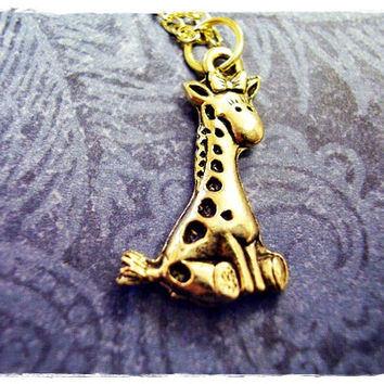 Gold Baby Giraffe Necklace - Antique Gold Pewter Baby Giraffe Charm on a Delicate 18 Inch Gold Plated Cable Chain