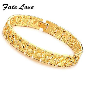 Fate Love Fahsion EU Style Luxury Gold Color Bracelets Big Cuff Design 11mm Wide Wedding Jewelry Man Wristband Bracelet FL160