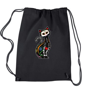 Skeleton Cat Day Of The Dead Drawstring Backpack