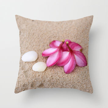Flowers and Cockleshells on Sand Throw Pillow by Cinema4design