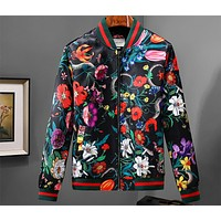 GUCCI autumn and winter long sleeve stand collar plant flower color striped jacket F-A00FS-GJ