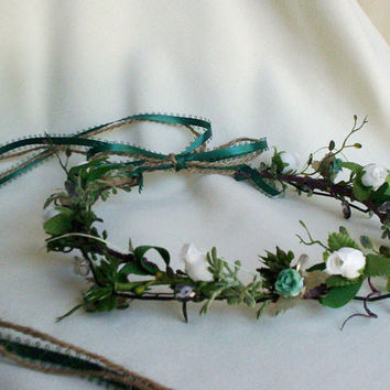 Celtic Floral Bridal Head Crown Medieval Bride by AmoreBride