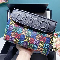 GUCCI Fashion New More Letter Star Print Leather Shoulder Bag Crossbody Bag Black