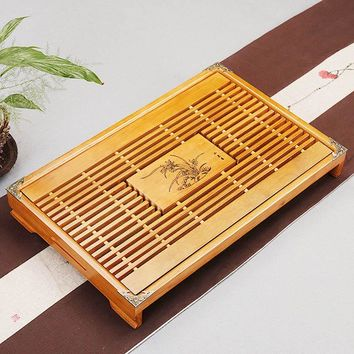 Chinese Tea Ceremony Tools Tea Tray Drainage Water Storage Wood Tea Set Room Board Table Hotel Wedding Supplies