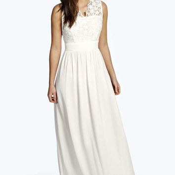 Grace Scalloped Crochet Lace Maxi Dress