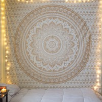 Small Golden Color Floral Trippy Ombre Medallion Mandala Wall Tapestry on RoyalFurnish.com