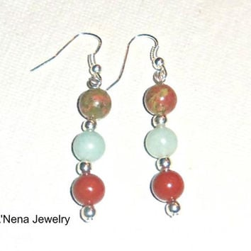 "Earrings:Handmade Unakite, Amazonite and Red Jasper""Strong"""