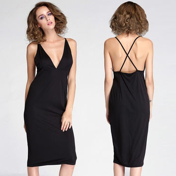 Women's New Fashion Bodycon Fitted Evening Party Backless Midi Sexy Dress F_F