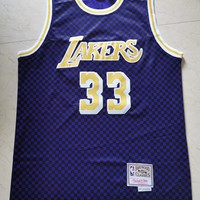 Mitchell & Ness Men's Los Angeles Lakers Kareem Abdul-Jabbar Checkerboard Purple Hardwood Classics Checkered Swingman Jersey - Best Deal Online