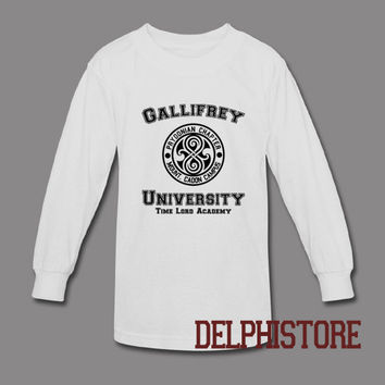 gallifrey university shirt doctor who DR who shirts tshirt t-shirt printed long sleeve black and white unisex size (DL-102)