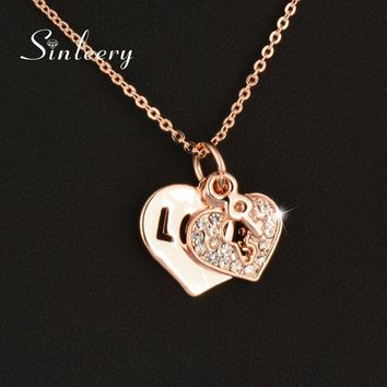 SINLEERY Romantic Love Double Heart Key Necklace Pendants Rose Gold Color Chain For Women Jewelry Christmas Gifts Xl613 SSC