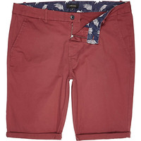 River Island MensRed skinny chino shorts
