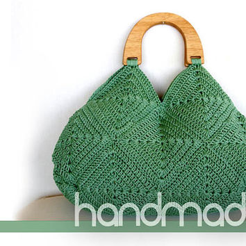 Crochet bag, Silver green  bag, Granny square purse, summer bag, handmade handbag, crochet cotton bag