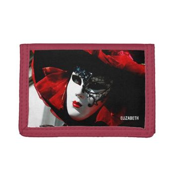 Venice Carnival Colorful Traditional Red Mask Tri-fold Wallets