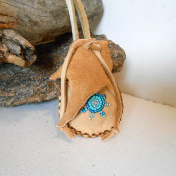 Beaded Medicine Bag, Small Leather Pouch, Handmade, Native American, Amulet Pouch, Hippie, Boho, Gift Idea, Natural, Blue