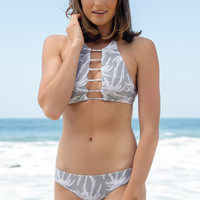 Bettinis - Strappy Reversible Halter Top   Palm Grey