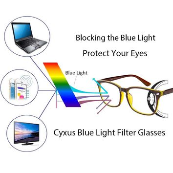 Cyxus Blue Light Filter Computer Glasses for Blocking UV Headache [Anti Eye Eyestrain] Transparent Lens, Unisex (Men/Women) (brown yellow)