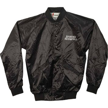 Avenged Sevenfold Men's  AVS Death Bat Mens Satin Jacket Jacket Black