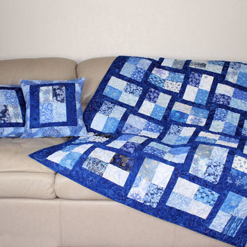 Blue and Silver Snowflakes Christmas Lap Quilt and Decorator Throw Pillows, Scrappy Patchwork