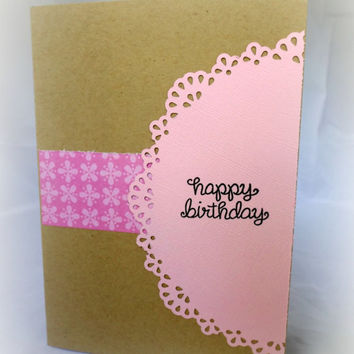 Birthday Card for Her - Hand made birthday card - pretty and pink - flower card - handstamped card