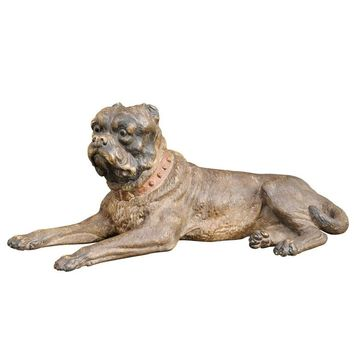 Large Austrian Terracotta Reclining Dog Sculpture from the Late 19th Century