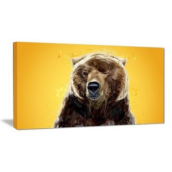 Gold Bear Wink Canvas Wall Art Print
