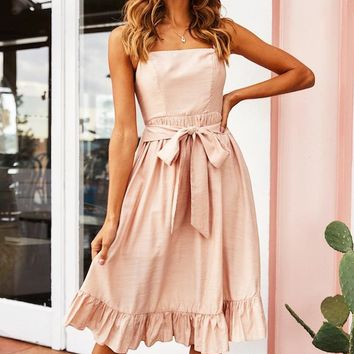 Summer New Fashion Solid Color Straps Dress Women Pink