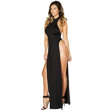 Sexy Magic City Halterneck Maxi Dress with High Slits