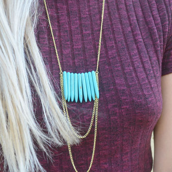 Multiple Turquoise Stone Spike Pendant Necklace with Gold Layered Dangling Chain