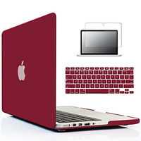 iBenzer - 3 in 1 Soft-Skin Smooth Finish Soft-Touch Plastic Hard Case Cover & Keyboard Cover & Screen Protector for Macbook Pro 13.3''/w Retina display NO CD-ROM, Wine Red MMP13R-WR+2