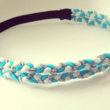 Turquoise White and Silver Double Braided Headband Hippie Headband Bohemian Womens Hair Accessories Elastic Headband