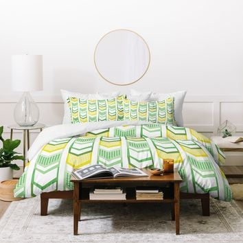 Heather Dutton Right Direction Lemon Lime Duvet Cover