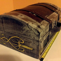 Game of Thrones House Greyjoy flat box/comic/book holder chest Wood burned/ hand painted with a Greyjoy Kraken -Weathered Look-