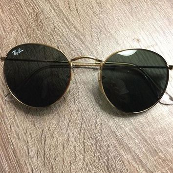 Ray-Ban Round Metal Gold 50mm Green Lenses Sunglasses