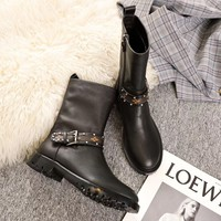 LV Louis Vuitton Women Fashion leather black High Top Mid Boots with strings Shoes Winter Autumn best quality